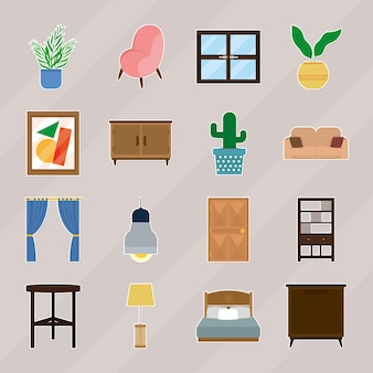 Conjunto de ícones de móveis para casa