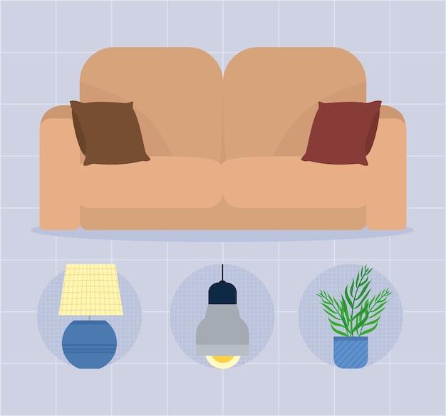 Conjunto de ícones de móveis para sala de estar