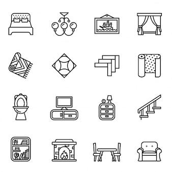 Conjunto de ícones de móveis