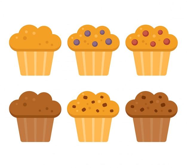 Conjunto de ícones de muffin, mirtilo, amora, chocolate com pepitas de chocolate.