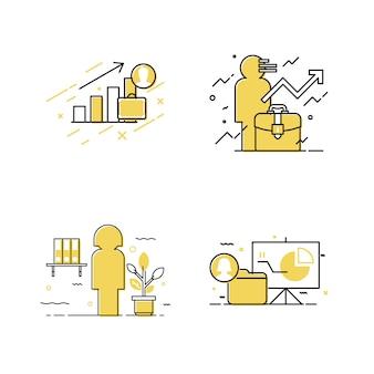 Conjunto de ícones de mulher de negócios e negócios