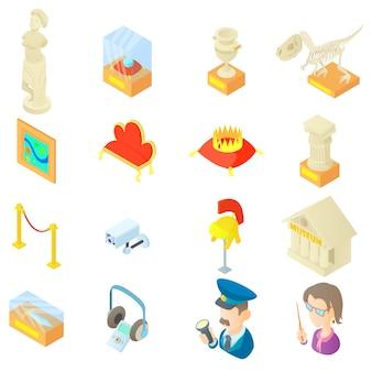 Conjunto de ícones de museu em estilo cartoon
