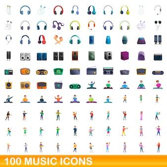 Conjunto de ícones de música. ilustração dos desenhos animados de ícones da música em fundo branco