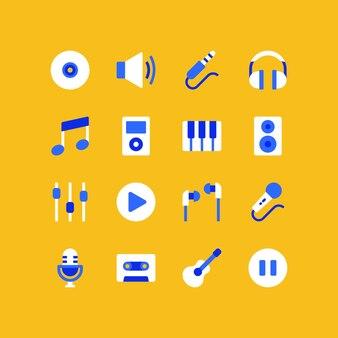 Conjunto de ícones de música plana