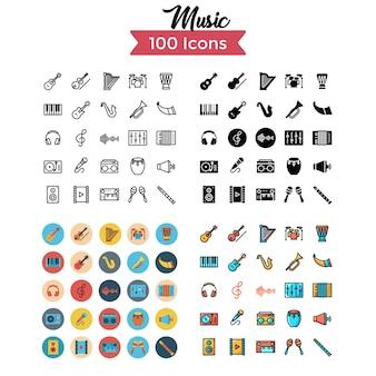 Conjunto de ícones de música.
