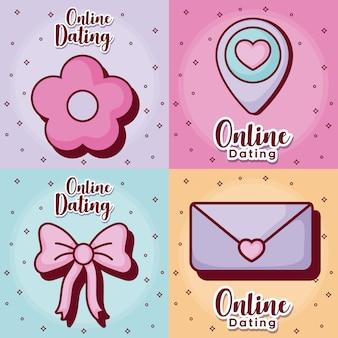 Conjunto de ícones de namoro on-line