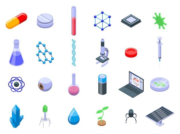 Conjunto de ícones de nanotecnologia