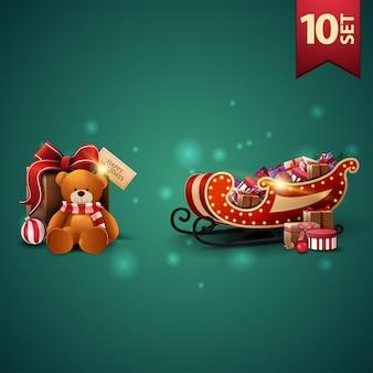 Conjunto de ícones de natal 3d, trenó do papai noel com presentes e presente com ursinho de pelúcia