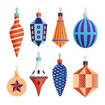 Conjunto de ícones de natal, coleção de objetos de natal, fundo branco.