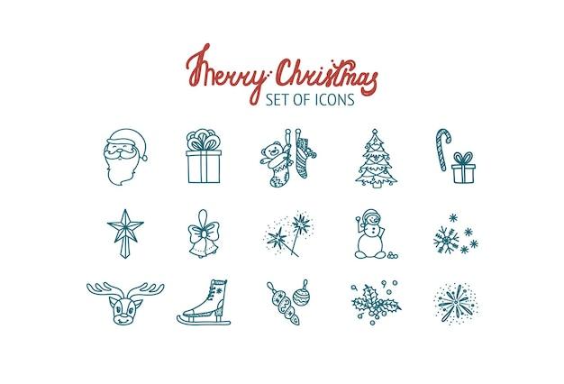 Conjunto de ícones de natal com caixas de presente de papai noel, meias visco, fogos de artifício, patins, boneco de neve
