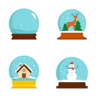 Conjunto de ícones de natal de bola de globo de neve