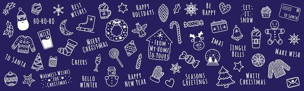 Conjunto de ícones de natal e ano novo de desenhos animados lineares brancos com papai noel, guirlanda de natal, veados, presentes etc.