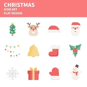 Conjunto de ícones de natal. elementos de ícones de natal