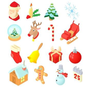 Conjunto de ícones de natal em estilo 3d isométrico