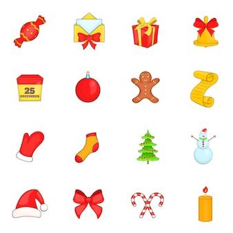 Conjunto de ícones de natal em estilo cartoon