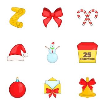 Conjunto de ícones de natal, estilo cartoon
