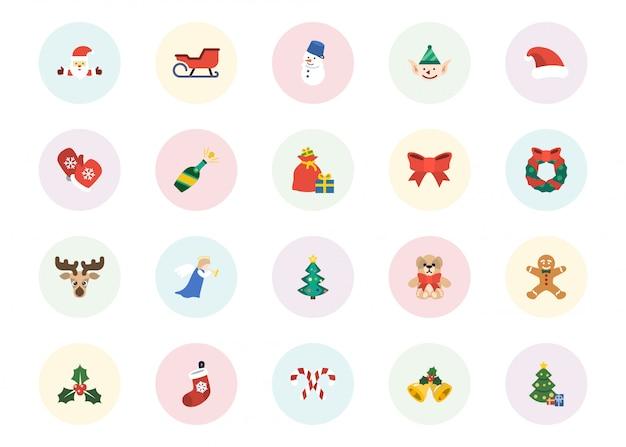 Conjunto de ícones de natal, estilo simples