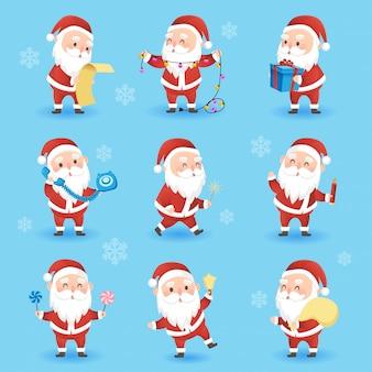 Conjunto de ícones de natal festivos com engraçado papai noel