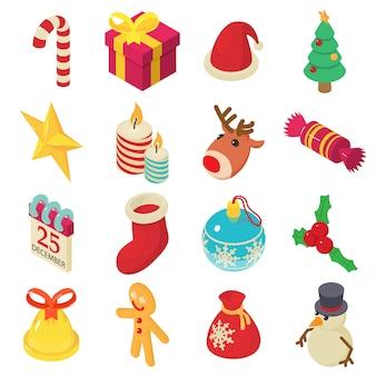 Conjunto de ícones de natal. ilustração isométrica de 16 ícones de vetor de natal para web