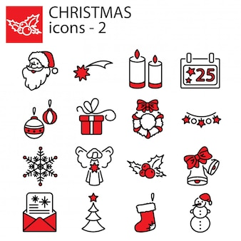 Conjunto de ícones de natal. natal e ano novo