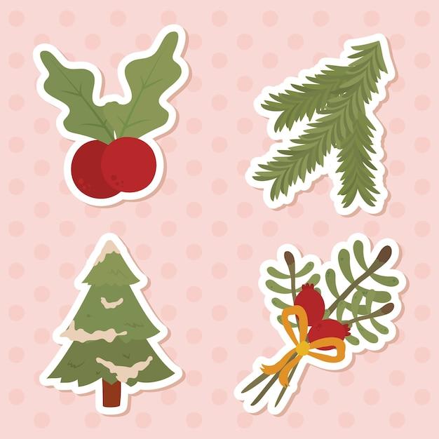 Conjunto de ícones de natal sobre fundo rosa