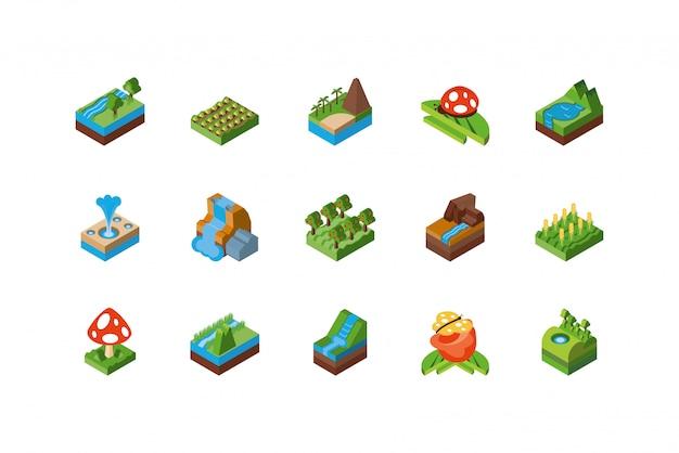 Conjunto de ícones de natureza isométrica isolado