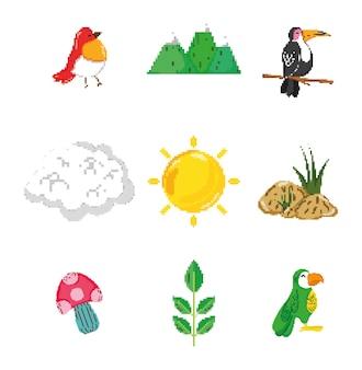 Conjunto de ícones de natureza pixelizada