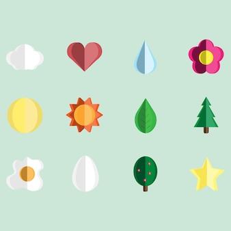 Conjunto de ícones de natureza vector design