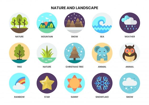 Conjunto de ícones de natureza