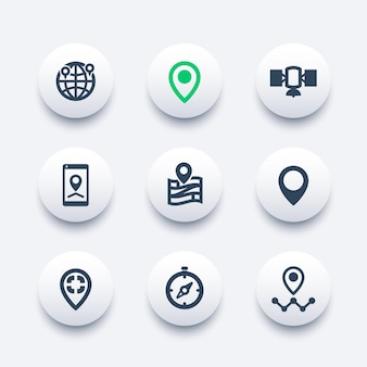 Conjunto de ícones de navegação, marcas de localização, ponteiros de mapa
