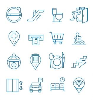Conjunto de ícones de navegação pública com estilo de estrutura de tópicos