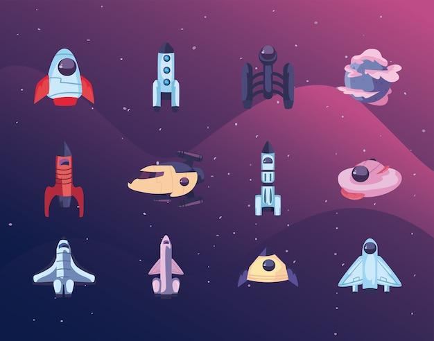 Conjunto de ícones de naves espaciais, foguetes espaciais e planeta