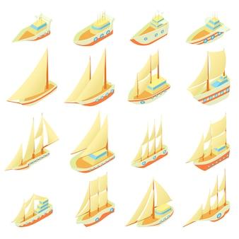 Conjunto de ícones de navio à vela em estilo cartoon