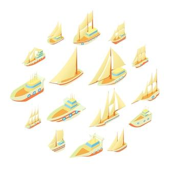 Conjunto de ícones de navio à vela, estilo cartoon