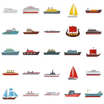 Conjunto de ícones de navio e barcos