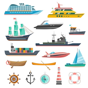Conjunto de ícones de navios