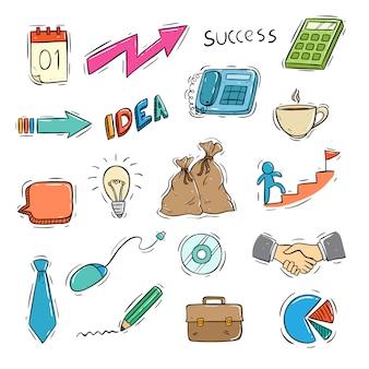 Conjunto de ícones de negócios com estilo doodle colorido