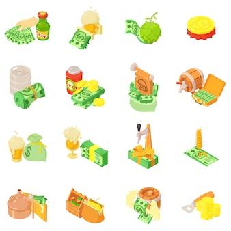 Conjunto de ícones de negócios de álcool