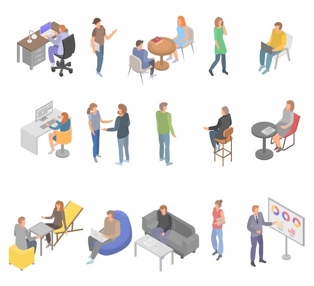 Conjunto de ícones de negócios de escritório coworking, estilo isométrico