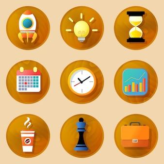 Conjunto de ícones de negócios de madeira