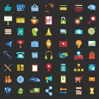 Conjunto de ícones de negócios design plano