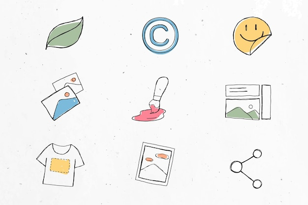 Conjunto de ícones de negócios divertidos