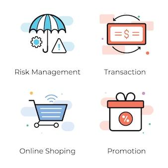Conjunto de ícones de negócios e bancos