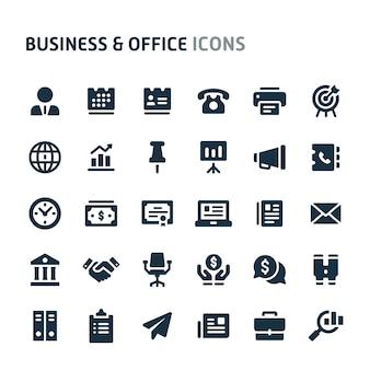 Conjunto de ícones de negócios e escritório. série de ícone preto fillio.