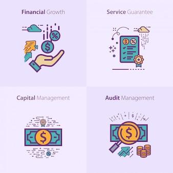 Conjunto de ícones de negócios e finanças conceito