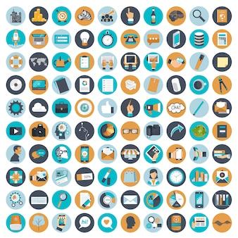 Conjunto de ícones de negócios e gestão para sites e aplicativos móveis