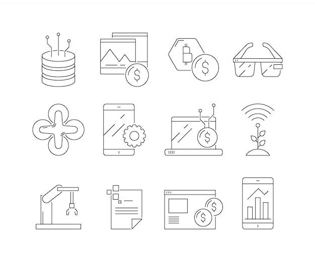 Conjunto de ícones de negócios e tecnologia