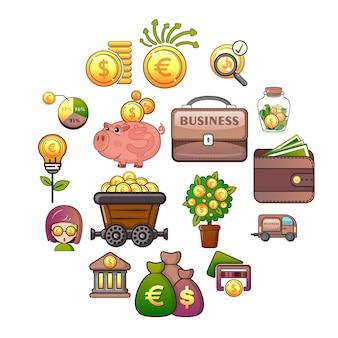 Conjunto de ícones de negócios, estilo cartoon