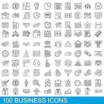 Conjunto de ícones de negócios, estilo de estrutura de tópicos