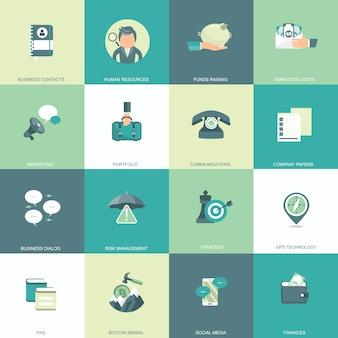 Conjunto de ícones de negócios, gerenciamento e finanças.